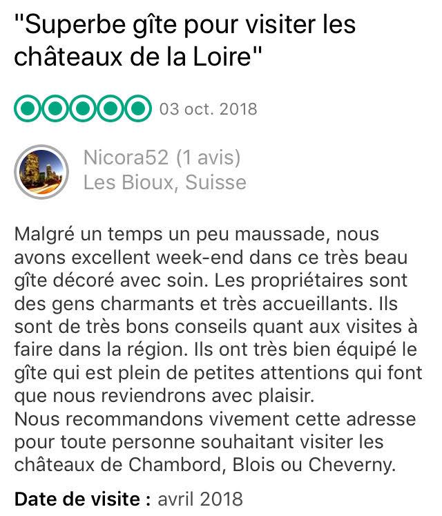 Avis - Gîtes ruraux - Châteaux de la Loire Blois Chambord Cheverny Beauval